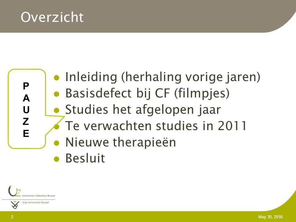 2 May 30, 2016 Inleiding (herhaling vorige jaren) Basisdefect bij CF (filmpjes) Studies het afgelopen jaar Te verwachten studies in 2011 Nieuwe therapieën Besluit Overzicht PAUZEPAUZE