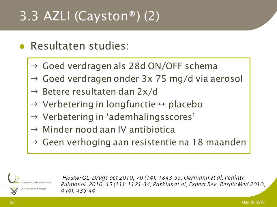 20 May 30, 2016 Resultaten studies: Goed verdragen als 28d ON/OFF schema Goed verdragen onder 3x 75 mg/d via aerosol Betere resultaten dan 2x/d Verbetering in longfunctie  placebo Verbetering in 'ademhalingsscores' Minder nood aan IV antibiotica Geen verhoging aan resistentie na 18 maanden 3.3 AZLI (Cayston®) (2) Plosker GL, Drugs oct 2010, 70 (14): 1843-55; Oermann et al.