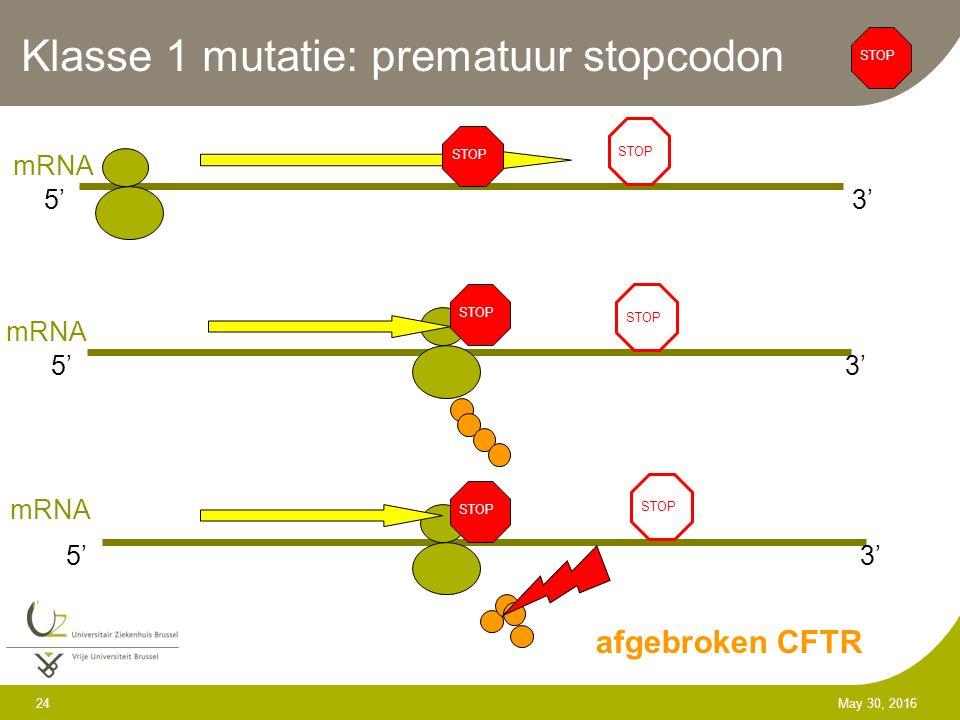 24 May 30, 2016 Klasse 1 mutatie: prematuur stopcodon STOP 5'3' mRNA STOP 5'3' mRNA STOP 5'3' afgebroken CFTR mRNA STOP