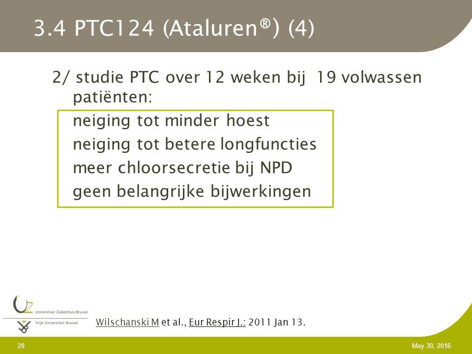2/ studie PTC over 12 weken bij 19 volwassen patiënten: neiging tot minder hoest neiging tot betere longfuncties meer chloorsecretie bij NPD geen belangrijke bijwerkingen 28 May 30, 2016 Wilschanski MWilschanski M et al., Eur Respir J.: 2011 Jan 13.