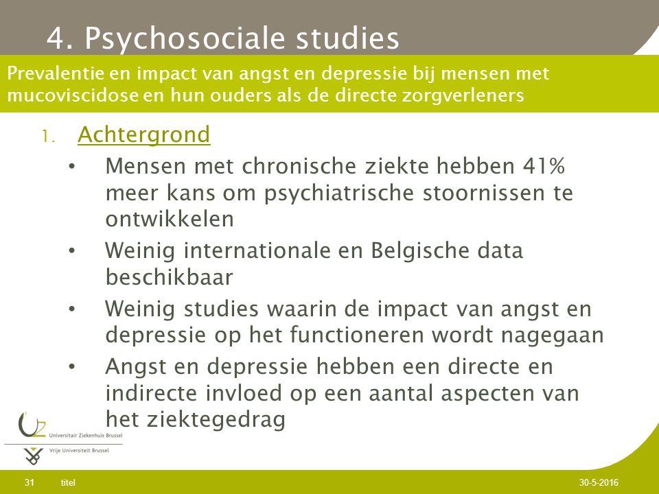 Prevalentie en impact van angst en depressie bij mensen met mucoviscidose en hun ouders als de directe zorgverleners 1.