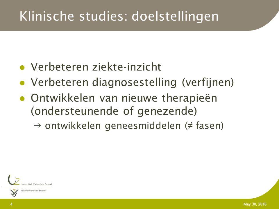 4 May 30, 2016 Klinische studies: doelstellingen Verbeteren ziekte-inzicht Verbeteren diagnosestelling (verfijnen) Ontwikkelen van nieuwe therapieën (ondersteunende of genezende)  ontwikkelen geneesmiddelen ( ≠ fasen)