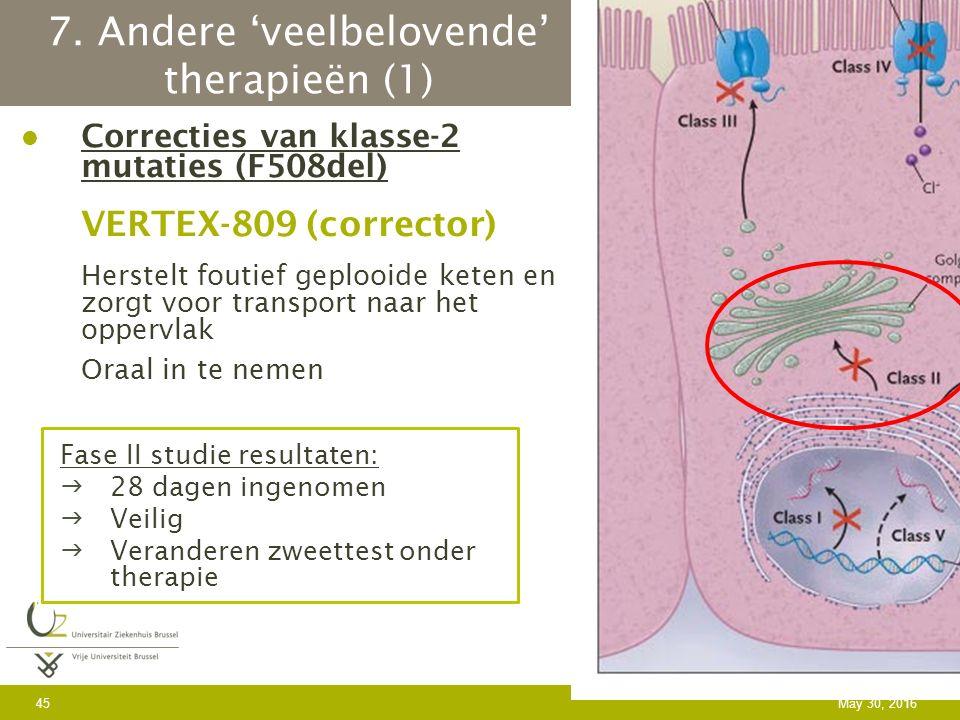 7. Andere 'veelbelovende' therapieën (1) Correcties van klasse-2 mutaties (F508del) VERTEX-809 (corrector) Herstelt foutief geplooide keten en zorgt v