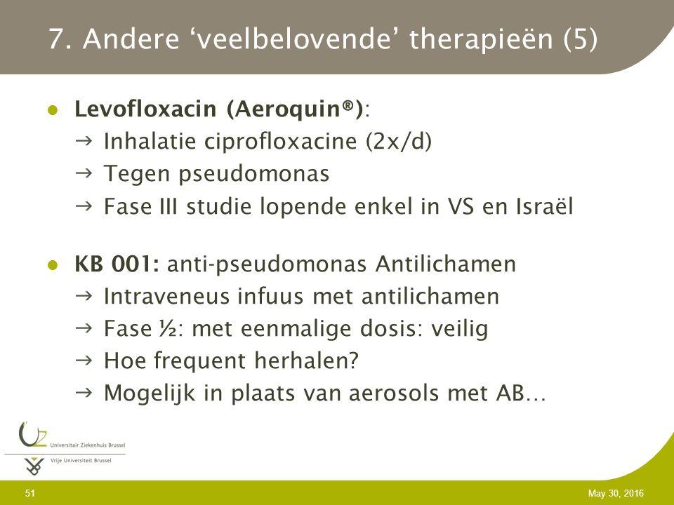 Levofloxacin (Aeroquin®): Inhalatie ciprofloxacine (2x/d) Tegen pseudomonas Fase III studie lopende enkel in VS en Israël KB 001: anti-pseudomonas Antilichamen Intraveneus infuus met antilichamen Fase ½: met eenmalige dosis: veilig Hoe frequent herhalen.