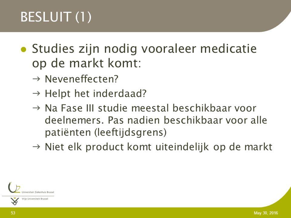 53 May 30, 2016 Studies zijn nodig vooraleer medicatie op de markt komt: Neveneffecten.