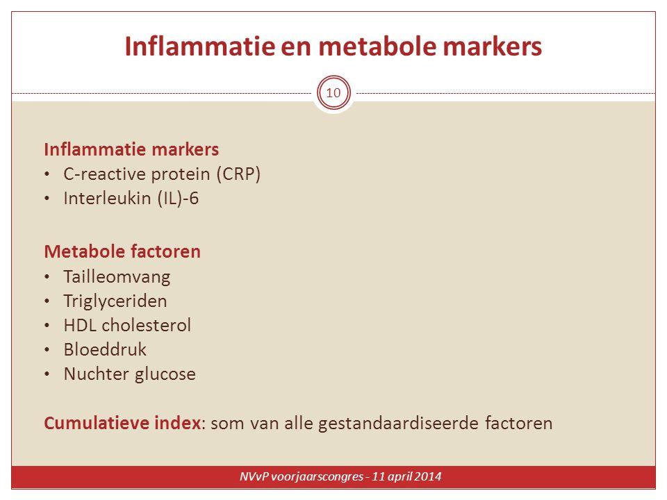 Inflammatie en metabole markers Inflammatie markers C-reactive protein (CRP) Interleukin (IL)-6 Metabole factoren Tailleomvang Triglyceriden HDL chole