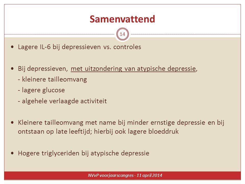 Samenvattend Lagere IL-6 bij depressieven vs. controles Bij depressieven, met uitzondering van atypische depressie, - kleinere tailleomvang - lagere g