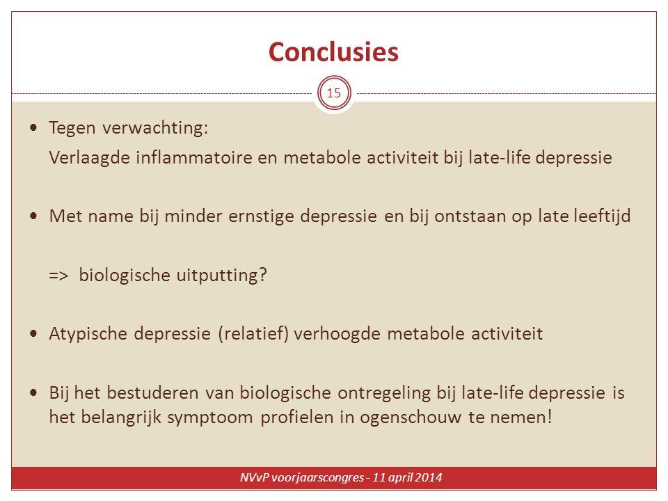 Conclusies Tegen verwachting: Verlaagde inflammatoire en metabole activiteit bij late-life depressie Met name bij minder ernstige depressie en bij ont