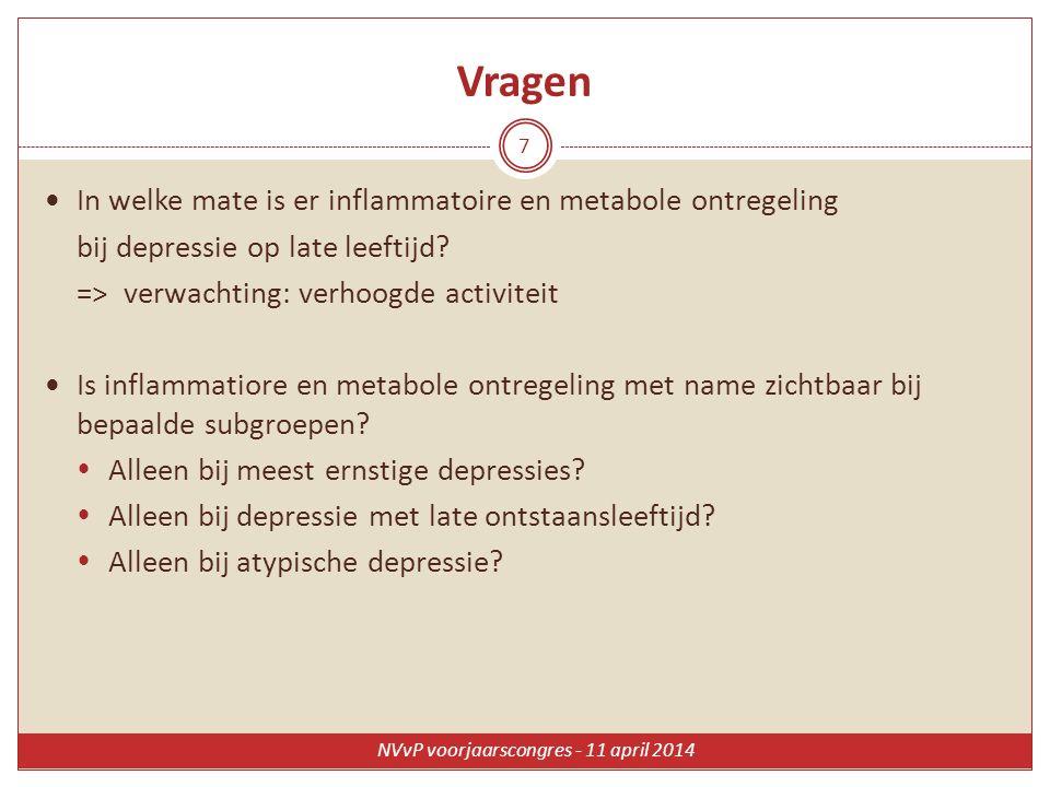 Vragen In welke mate is er inflammatoire en metabole ontregeling bij depressie op late leeftijd? => verwachting: verhoogde activiteit Is inflammatiore