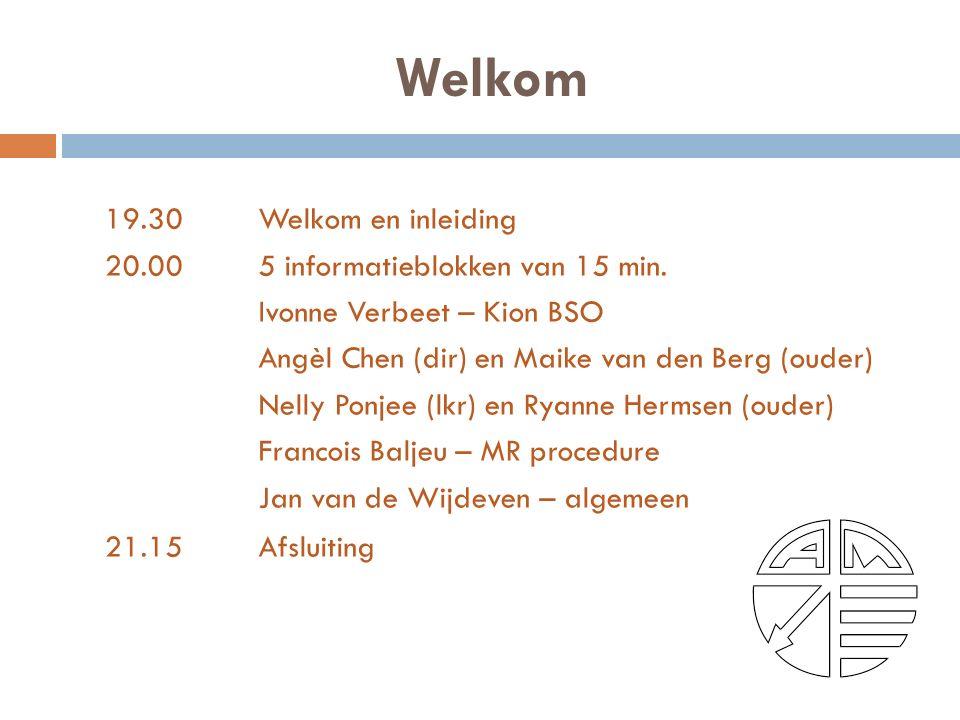 Welkom 19.30Welkom en inleiding 20.00 5 informatieblokken van 15 min.