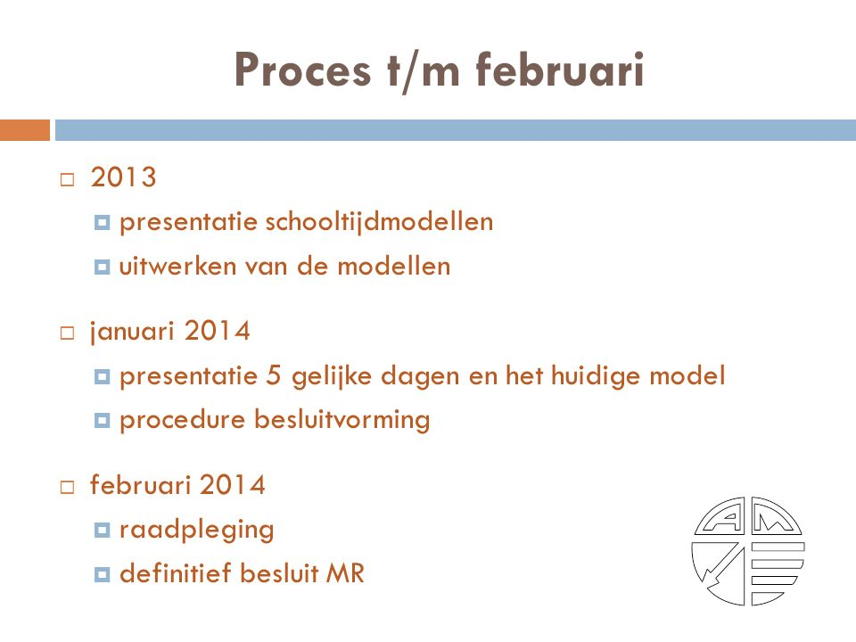 Proces t/m februari  2013  presentatie schooltijdmodellen  uitwerken van de modellen  januari 2014  presentatie 5 gelijke dagen en het huidige model  procedure besluitvorming  februari 2014  raadpleging  definitief besluit MR