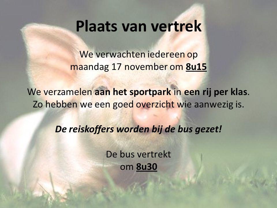 Plaats van vertrek We verwachten iedereen op maandag 17 november om 8u15 We verzamelen aan het sportpark in een rij per klas.
