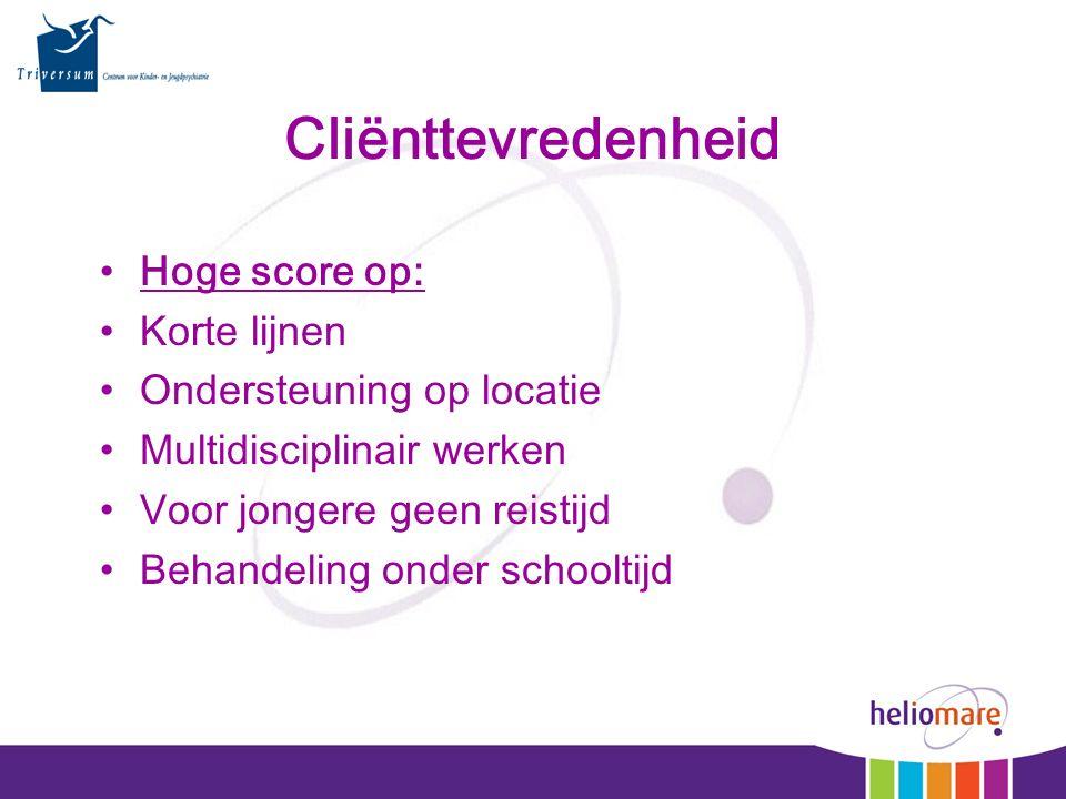Cliënttevredenheid Hoge score op: Korte lijnen Ondersteuning op locatie Multidisciplinair werken Voor jongere geen reistijd Behandeling onder schoolti