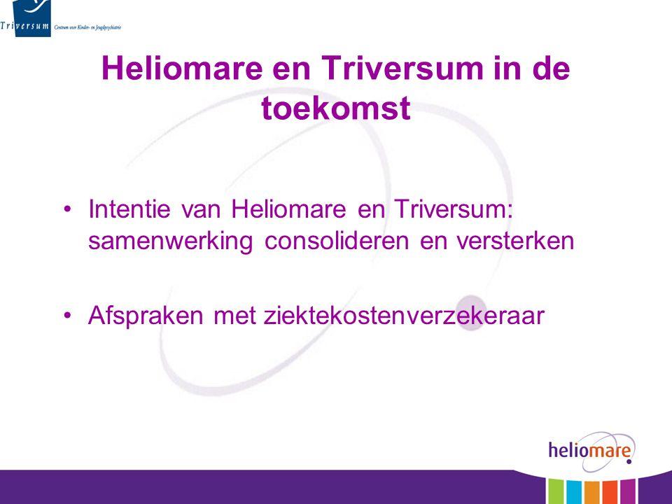 Heliomare en Triversum in de toekomst Intentie van Heliomare en Triversum: samenwerking consolideren en versterken Afspraken met ziektekostenverzekera