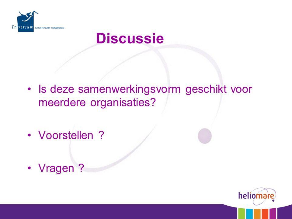 Discussie Is deze samenwerkingsvorm geschikt voor meerdere organisaties? Voorstellen ? Vragen ?