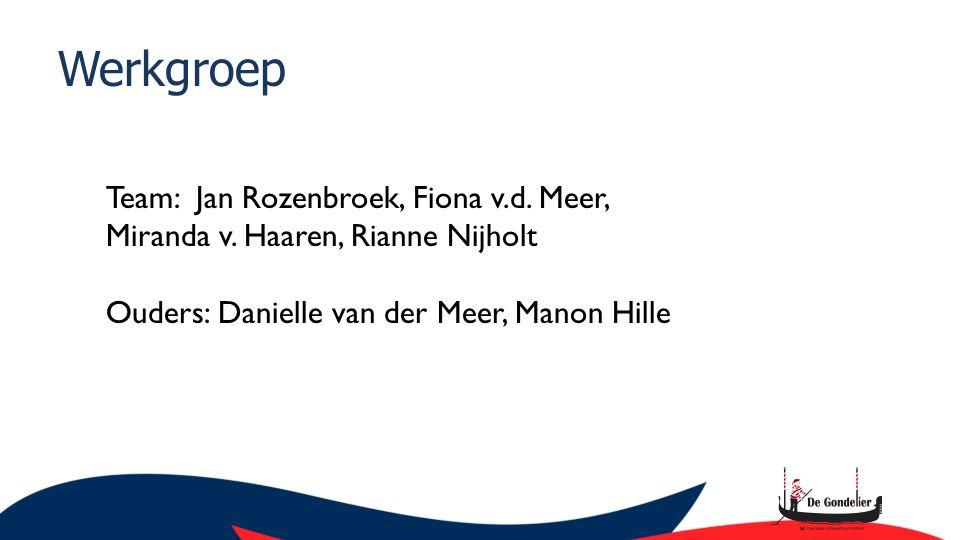 Werkgroep Team: Jan Rozenbroek, Fiona v.d. Meer, Miranda v.