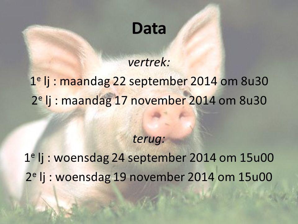 Data vertrek: 1 e lj : maandag 22 september 2014 om 8u30 2 e lj : maandag 17 november 2014 om 8u30 terug: 1 e lj : woensdag 24 september 2014 om 15u00 2 e lj : woensdag 19 november 2014 om 15u00