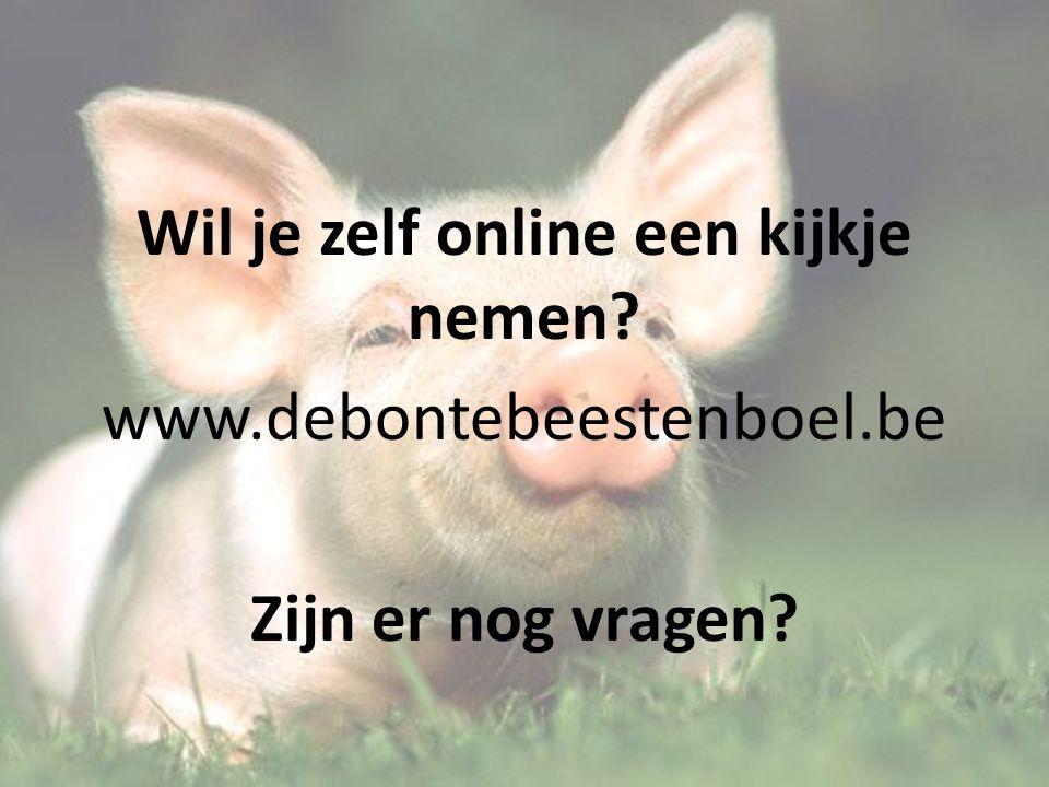 Wil je zelf online een kijkje nemen? www.debontebeestenboel.be Zijn er nog vragen?