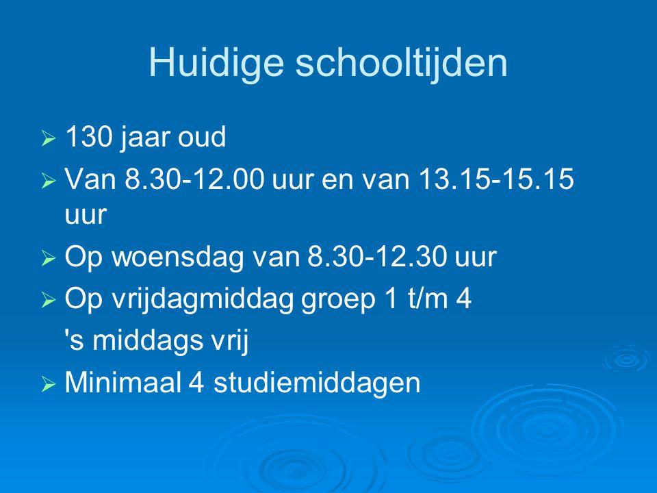 Huidige schooltijden   130 jaar oud   Van 8.30-12.00 uur en van 13.15-15.15 uur   Op woensdag van 8.30-12.30 uur   Op vrijdagmiddag groep 1 t/m 4 s middags vrij   Minimaal 4 studiemiddagen