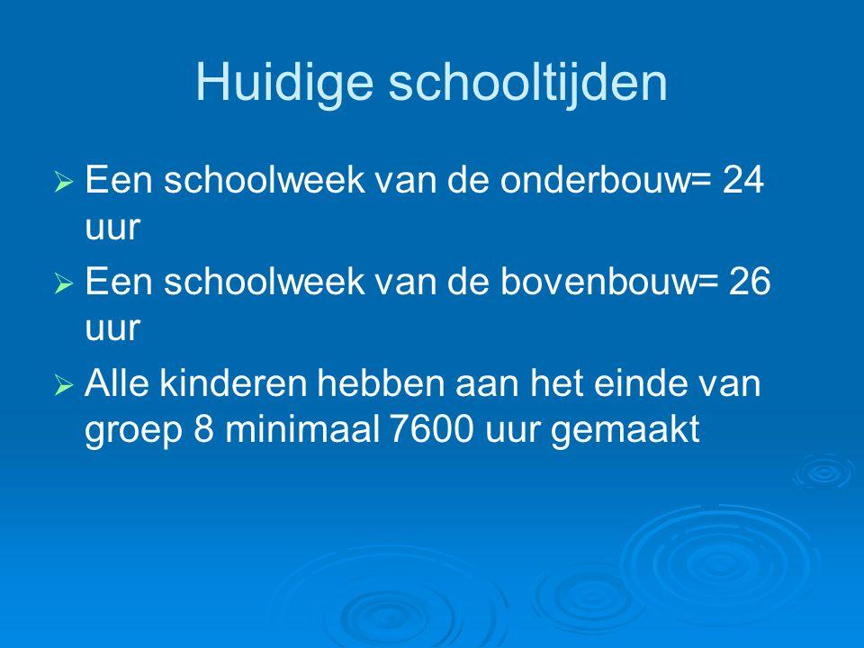 Huidige schooltijden   Een schoolweek van de onderbouw= 24 uur   Een schoolweek van de bovenbouw= 26 uur   Alle kinderen hebben aan het einde van groep 8 minimaal 7600 uur gemaakt