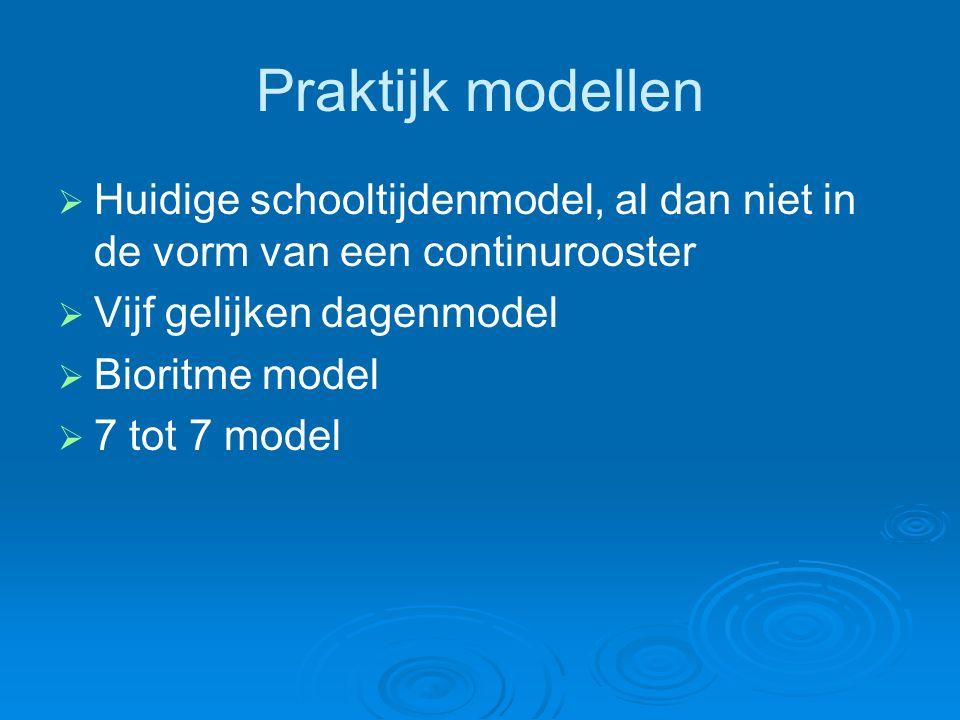 Praktijk modellen   Huidige schooltijdenmodel, al dan niet in de vorm van een continurooster   Vijf gelijken dagenmodel   Bioritme model   7 tot 7 model