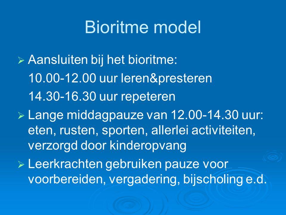Bioritme model   Aansluiten bij het bioritme: 10.00-12.00 uur leren&presteren 14.30-16.30 uur repeteren   Lange middagpauze van 12.00-14.30 uur: eten, rusten, sporten, allerlei activiteiten, verzorgd door kinderopvang   Leerkrachten gebruiken pauze voor voorbereiden, vergadering, bijscholing e.d.