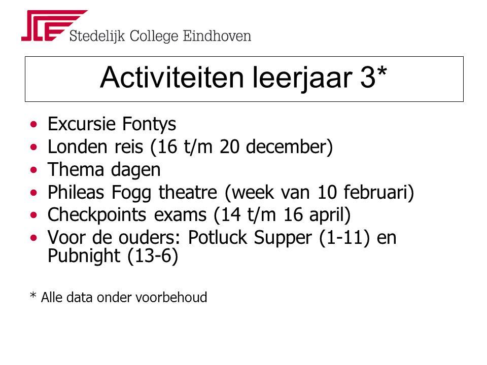 Activiteiten leerjaar 3* Excursie Fontys Londen reis (16 t/m 20 december) Thema dagen Phileas Fogg theatre (week van 10 februari) Checkpoints exams (14 t/m 16 april) Voor de ouders: Potluck Supper (1-11) en Pubnight (13-6) * Alle data onder voorbehoud