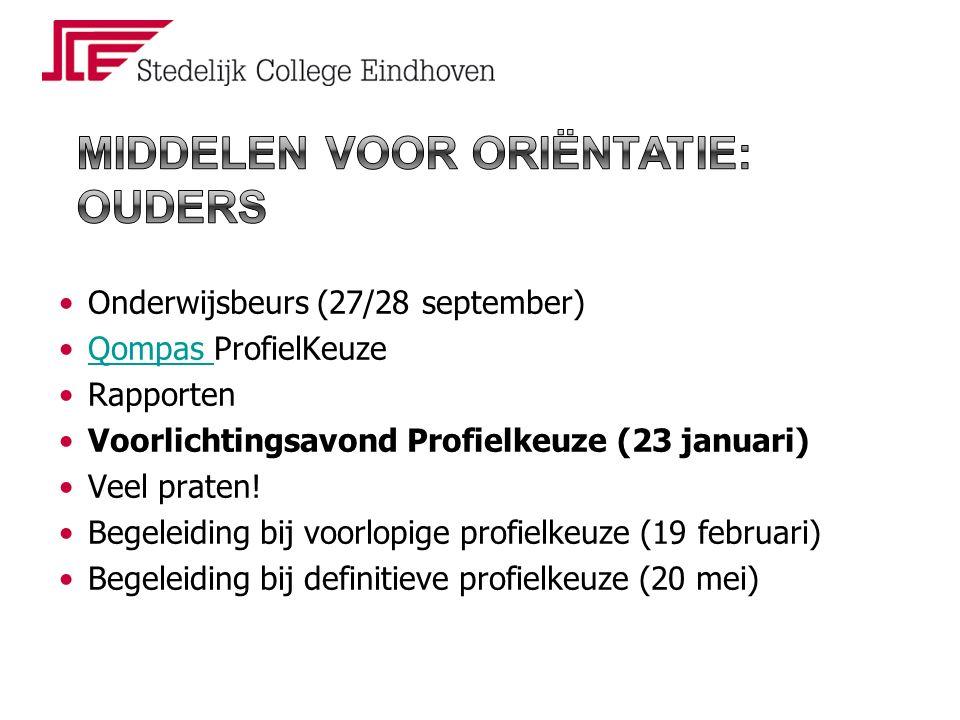 Onderwijsbeurs (27/28 september) Qompas ProfielKeuzeQompas Rapporten Voorlichtingsavond Profielkeuze (23 januari) Veel praten.