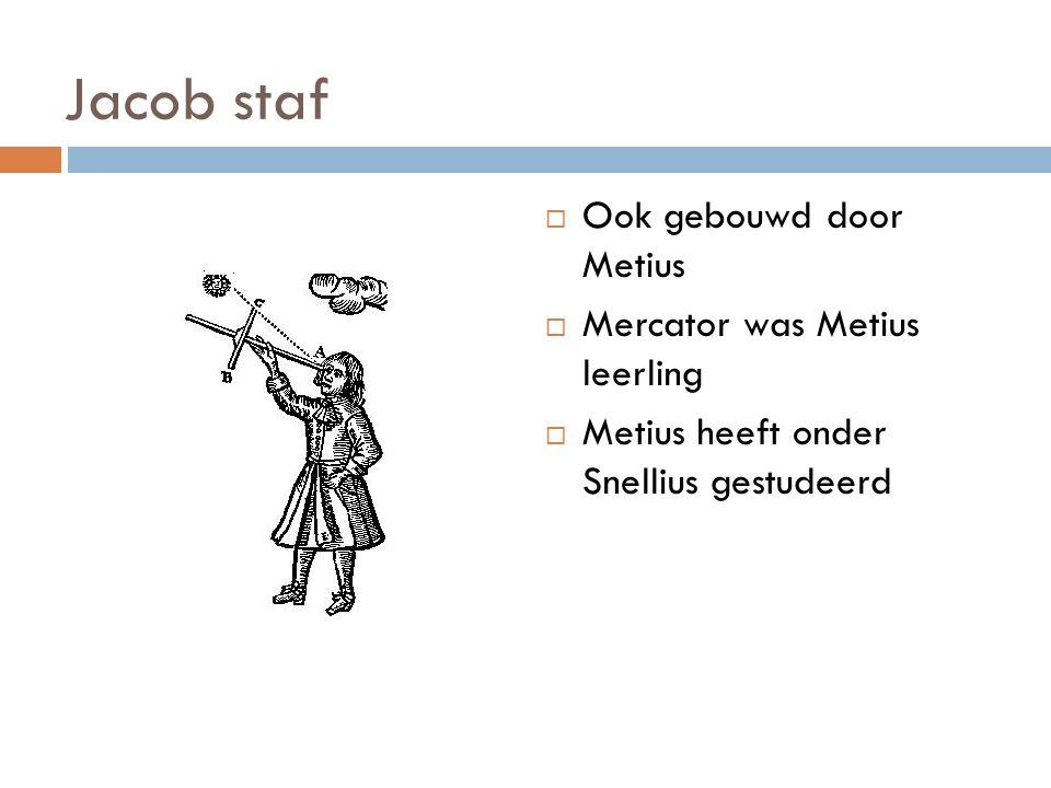 Jacob staf  Ook gebouwd door Metius  Mercator was Metius leerling  Metius heeft onder Snellius gestudeerd