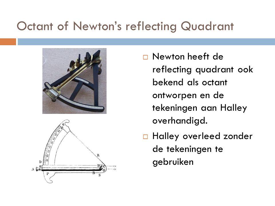 Octant of Newton's reflecting Quadrant  Newton heeft de reflecting quadrant ook bekend als octant ontworpen en de tekeningen aan Halley overhandigd.