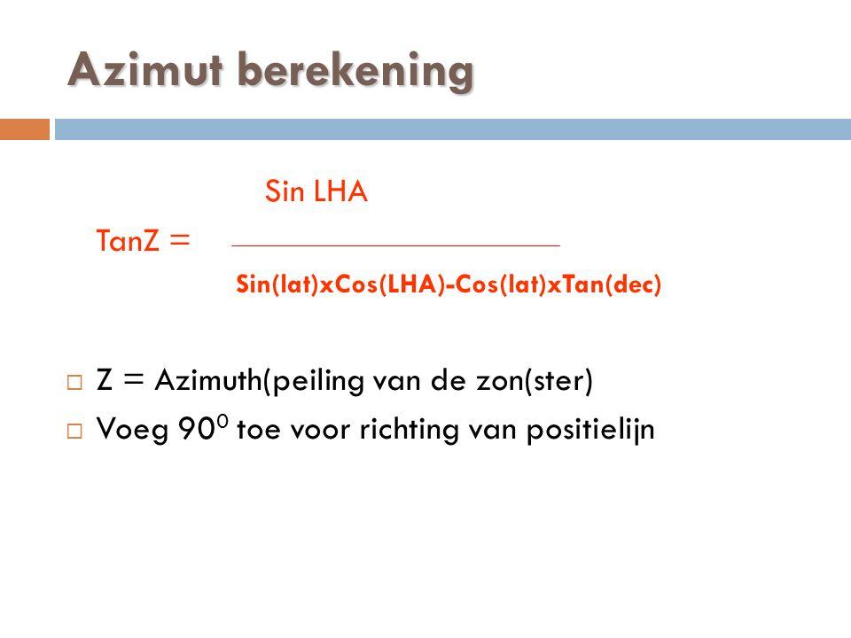 Azimut berekening Sin LHA TanZ = Sin(lat)xCos(LHA)-Cos(lat)xTan(dec)  Z = Azimuth(peiling van de zon(ster)  Voeg 90 0 toe voor richting van positielijn