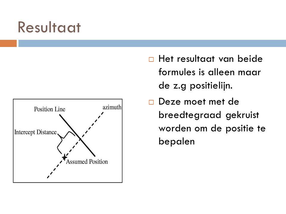 Resultaat  Het resultaat van beide formules is alleen maar de z.g positielijn.