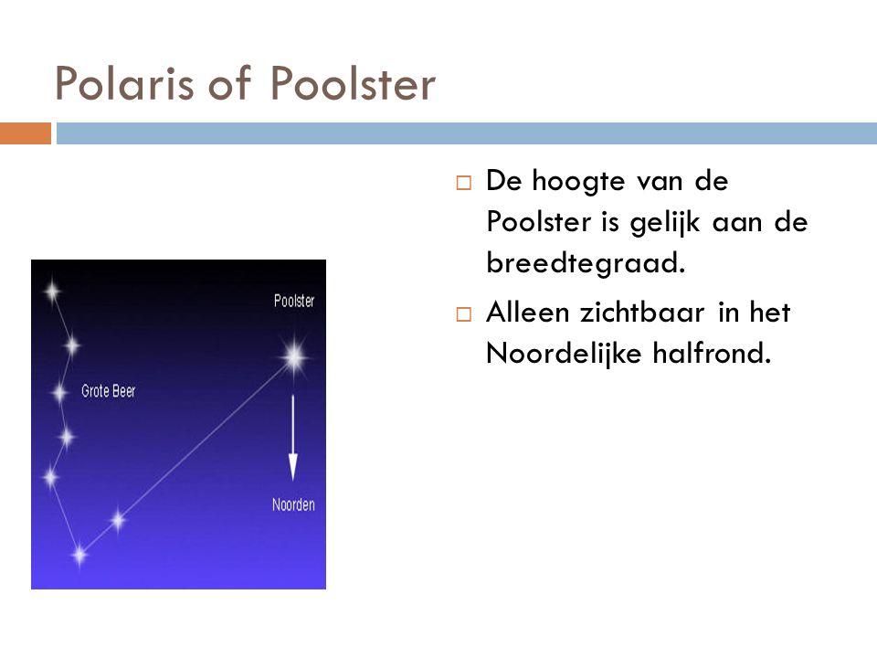 Polaris of Poolster  De hoogte van de Poolster is gelijk aan de breedtegraad.