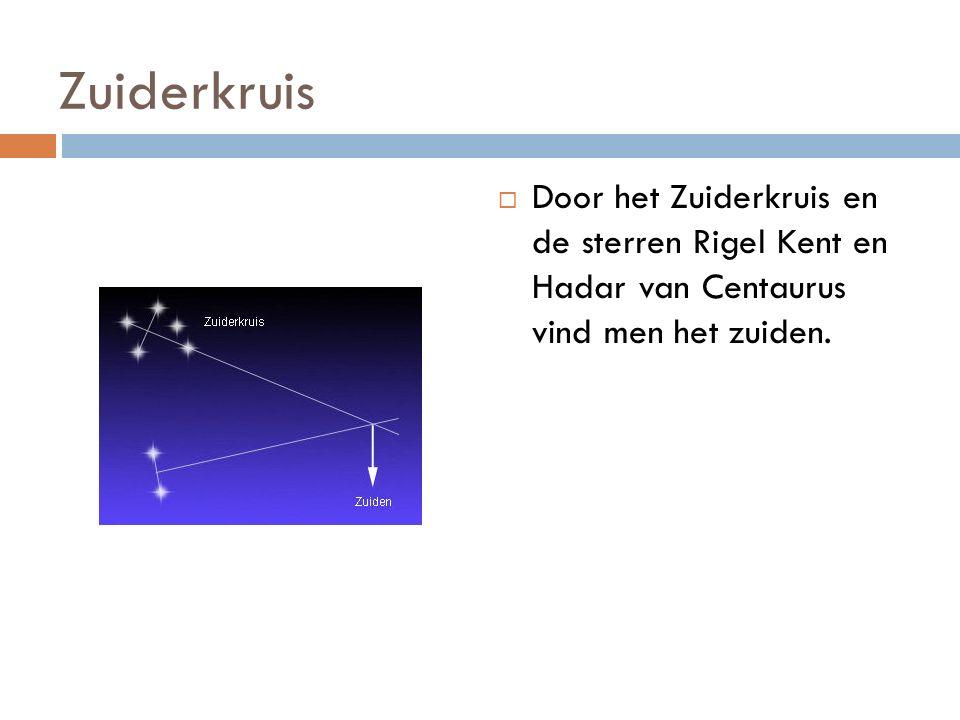Zuiderkruis  Door het Zuiderkruis en de sterren Rigel Kent en Hadar van Centaurus vind men het zuiden.