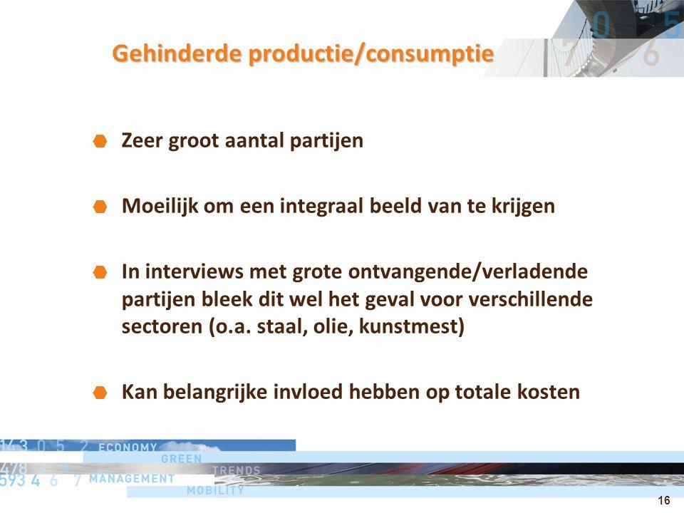 16 Gehinderde productie/consumptie Zeer groot aantal partijen Moeilijk om een integraal beeld van te krijgen In interviews met grote ontvangende/verla