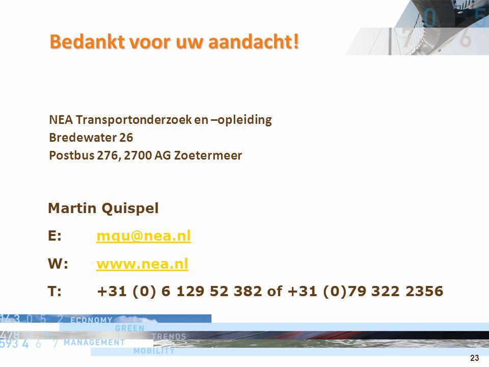 23 Bedankt voor uw aandacht! NEA Transportonderzoek en –opleiding Bredewater 26 Postbus 276, 2700 AG Zoetermeer Martin Quispel E: mqu@nea.nlmqu@nea.nl