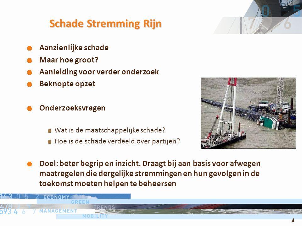 4 Schade Stremming Rijn Aanzienlijke schade Maar hoe groot? Aanleiding voor verder onderzoek Beknopte opzet Onderzoeksvragen Wat is de maatschappelijk