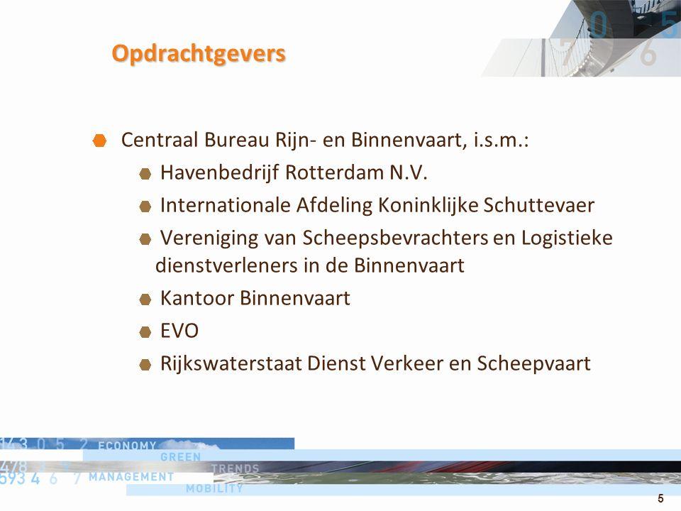 5 Opdrachtgevers Centraal Bureau Rijn- en Binnenvaart, i.s.m.: Havenbedrijf Rotterdam N.V. Internationale Afdeling Koninklijke Schuttevaer Vereniging