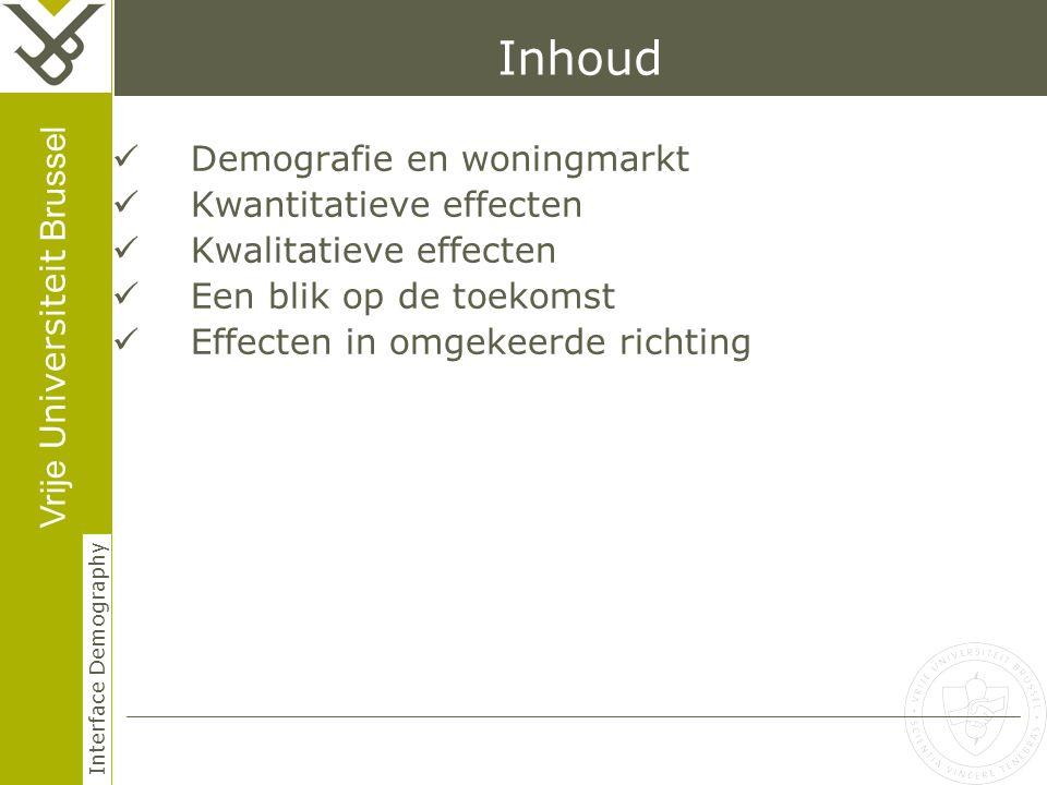 Vrije Universiteit Brussel Interface Demography Inhoud Demografie en woningmarkt Kwantitatieve effecten Kwalitatieve effecten Een blik op de toekomst Effecten in omgekeerde richting