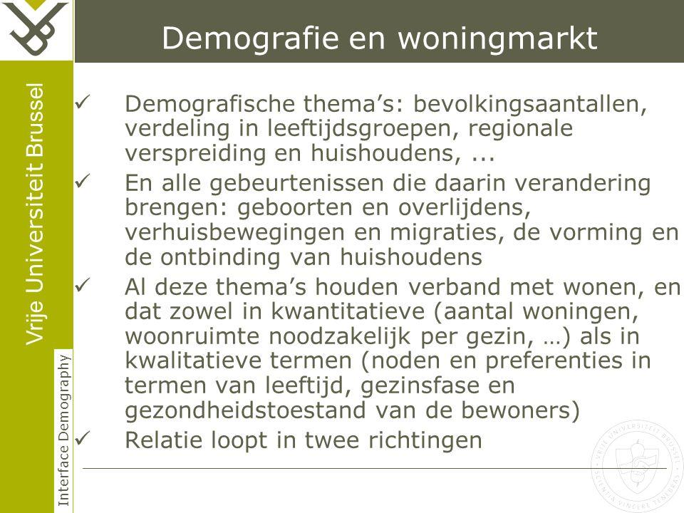 Vrije Universiteit Brussel Interface Demography Demografie en woningmarkt Demografische thema's: bevolkingsaantallen, verdeling in leeftijdsgroepen, regionale verspreiding en huishoudens,...