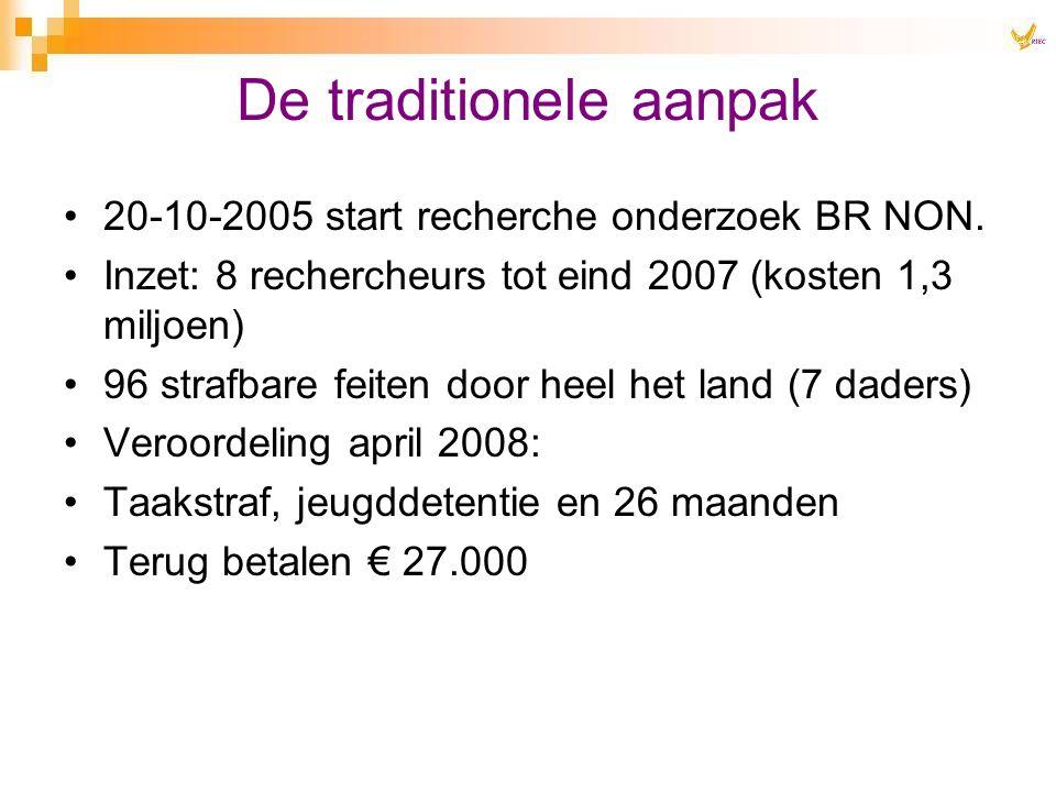 20-10-2005 start recherche onderzoek BR NON. Inzet: 8 rechercheurs tot eind 2007 (kosten 1,3 miljoen) 96 strafbare feiten door heel het land (7 daders