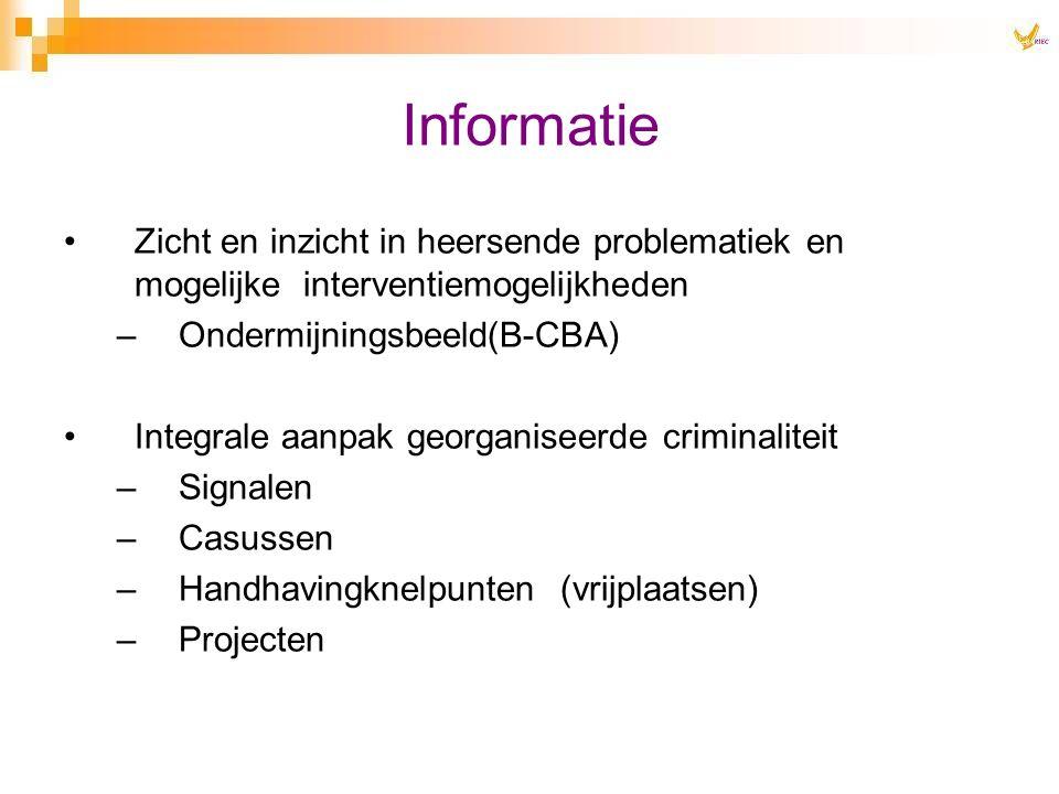 Informatie Zicht en inzicht in heersende problematiek en mogelijke interventiemogelijkheden –Ondermijningsbeeld(B-CBA) Integrale aanpak georganiseerde