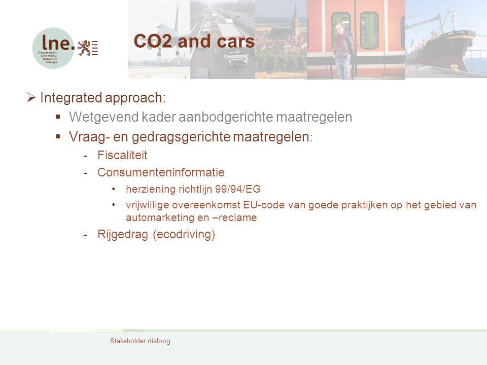 Stakeholder dialoog CO2 and cars  Integrated approach:  Wetgevend kader aanbodgerichte maatregelen  Vraag- en gedragsgerichte maatregelen : -Fiscal
