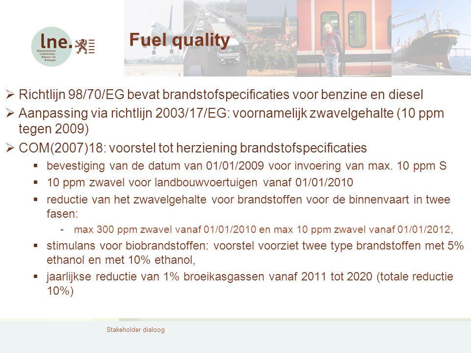 Stakeholder dialoog Fuel quality  Richtlijn 98/70/EG bevat brandstofspecificaties voor benzine en diesel  Aanpassing via richtlijn 2003/17/EG: voorn