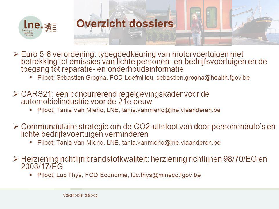 Stakeholder dialoog Overzicht dossiers  Euro 5-6 verordening: typegoedkeuring van motorvoertuigen met betrekking tot emissies van lichte personen- en
