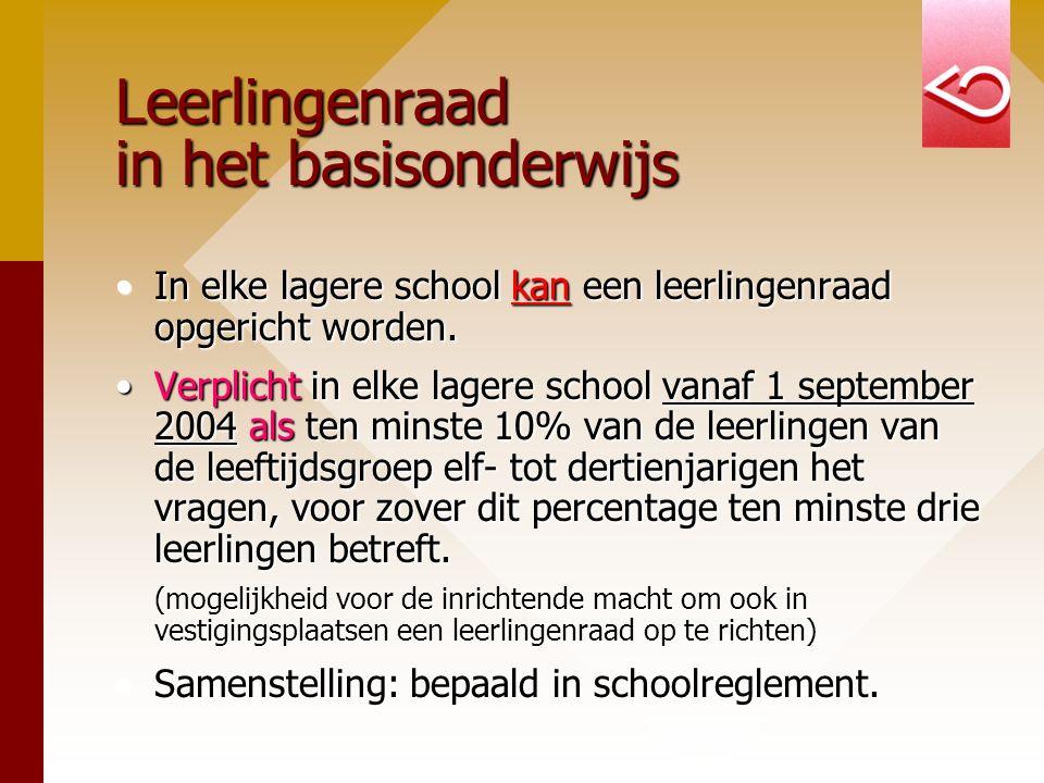 Leerlingenraad in het basisonderwijs In elke lagere school kan een leerlingenraad opgericht worden.In elke lagere school kan een leerlingenraad opgeri