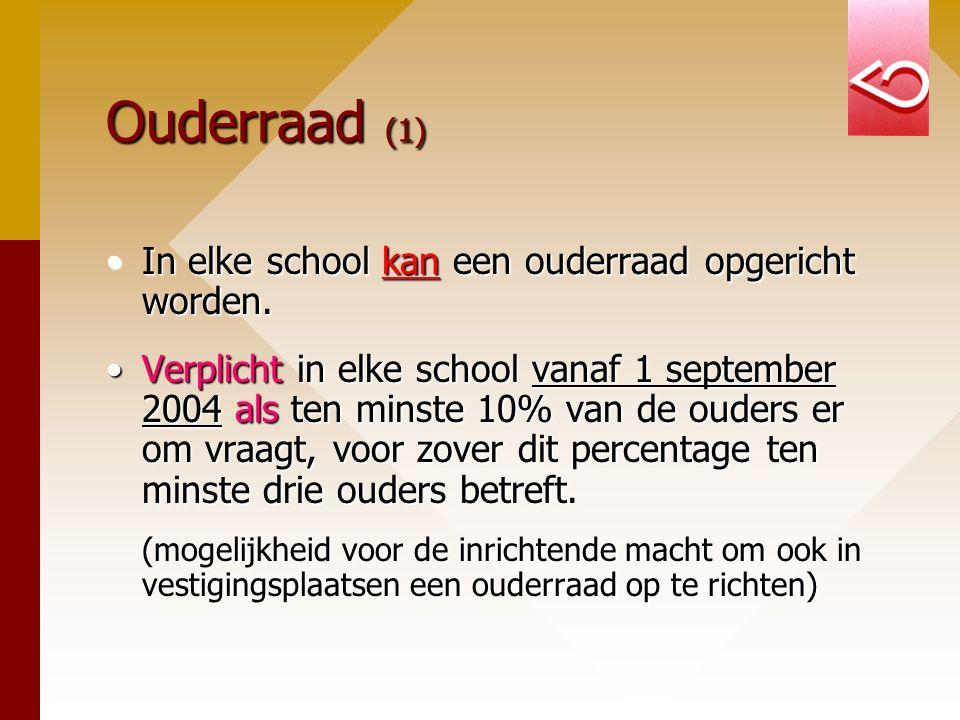 Ouderraad (1) In elke school kan een ouderraad opgericht worden.In elke school kan een ouderraad opgericht worden. Verplicht in elke school vanaf 1 se