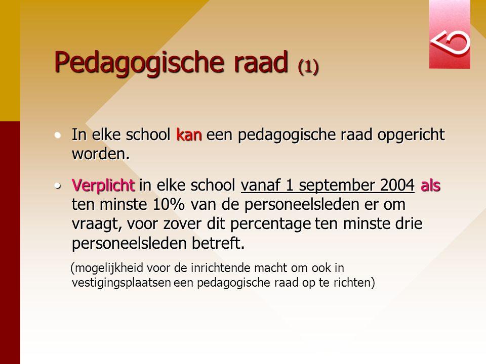 Pedagogische raad (1) In elke school kan een pedagogische raad opgericht worden.In elke school kan een pedagogische raad opgericht worden. Verplicht i