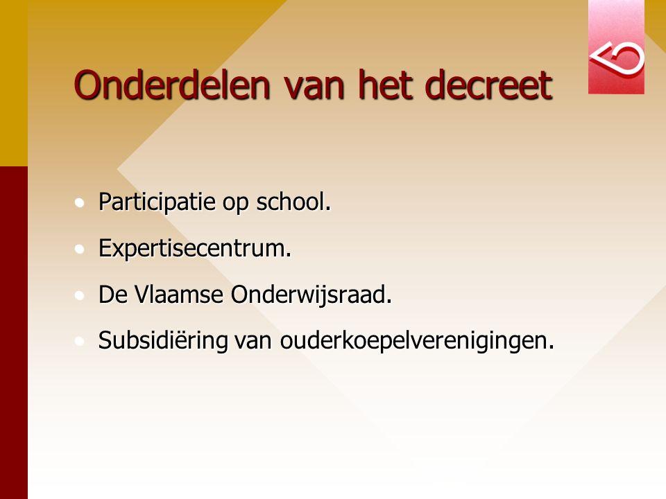 Onderdelen van het decreet Participatie op school.Participatie op school.