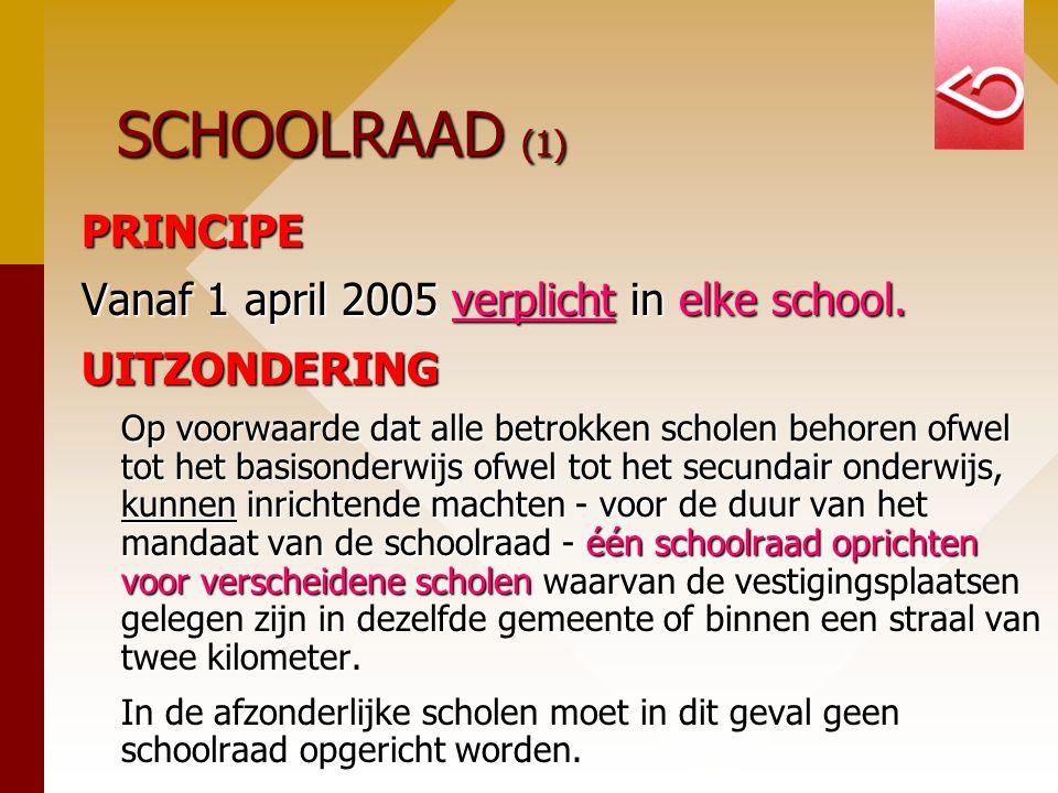 SCHOOLRAAD (1) PRINCIPE Vanaf 1 april 2005 verplicht in elke school. UITZONDERING Op voorwaarde dat alle betrokken scholen behoren ofwel tot het basis